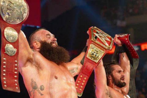 "WWE人间怪兽""布朗斯图曼""再发威一举拿下RAW双打冠军开启暴走"