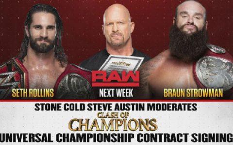 史蒂夫奥斯汀下周回归WWERAW并且加入赛斯和人间怪兽剧情