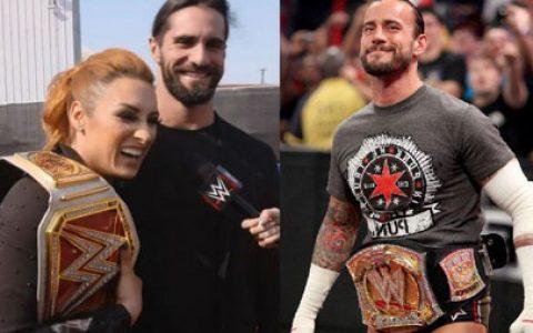 WWE赛斯罗林斯和老婆发自拍照CM朋克与其互动,真香?