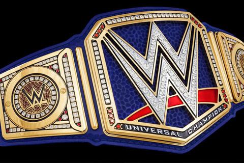 恶魔·布雷怀亚特的蓝色WWE环球冠军腰带细节